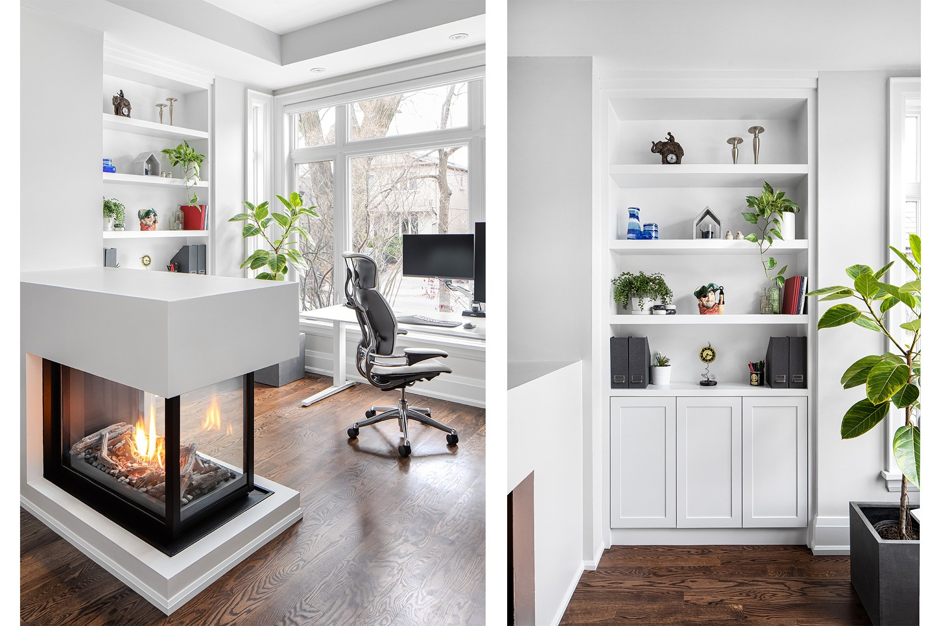 modern stand up office bookcase and fireplace