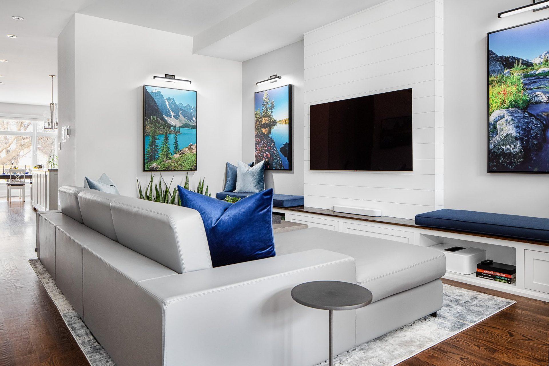 modern living room italian leather sofa custom built in