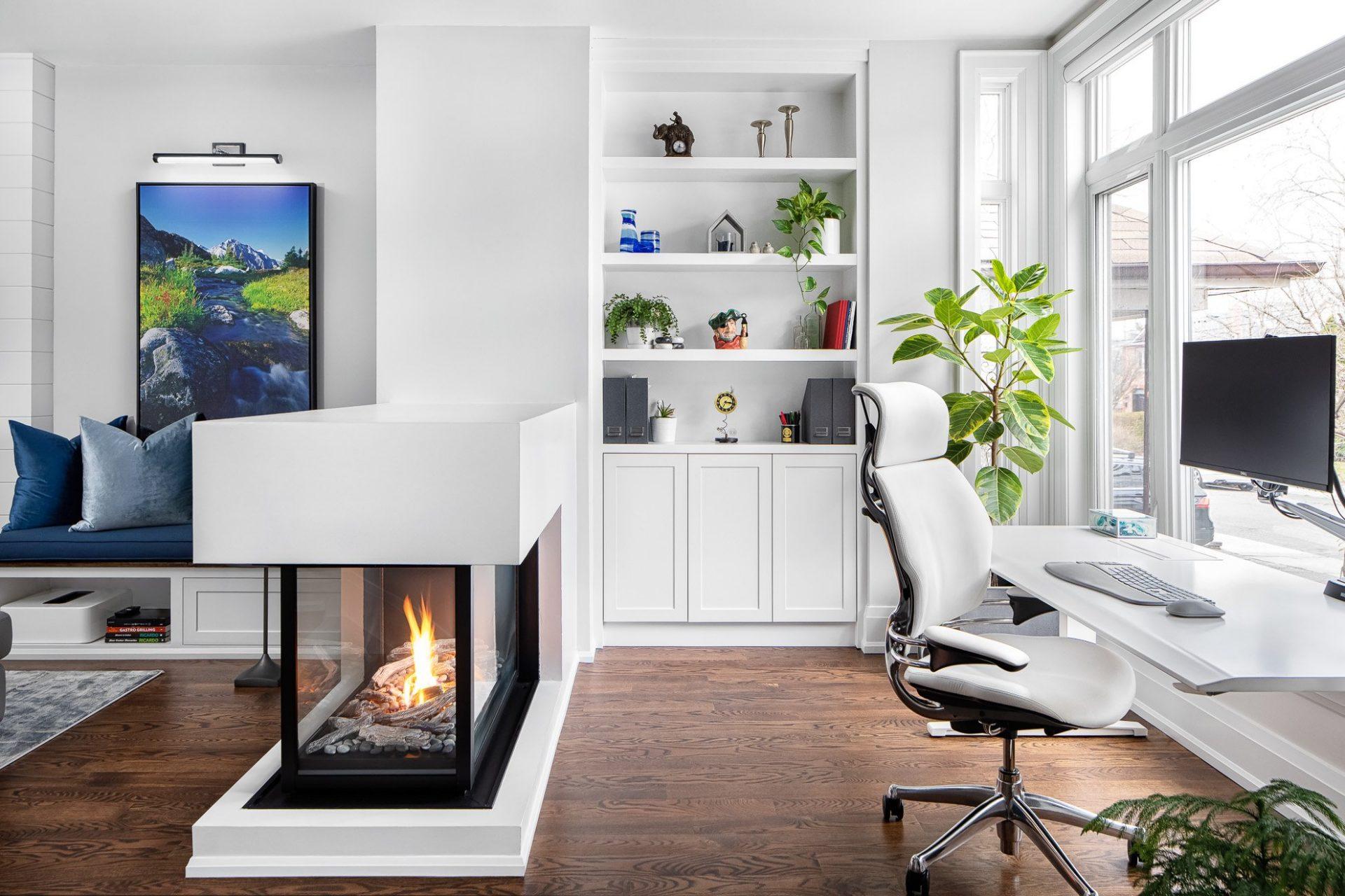 modern bookcase standing up desk sleek fireplace