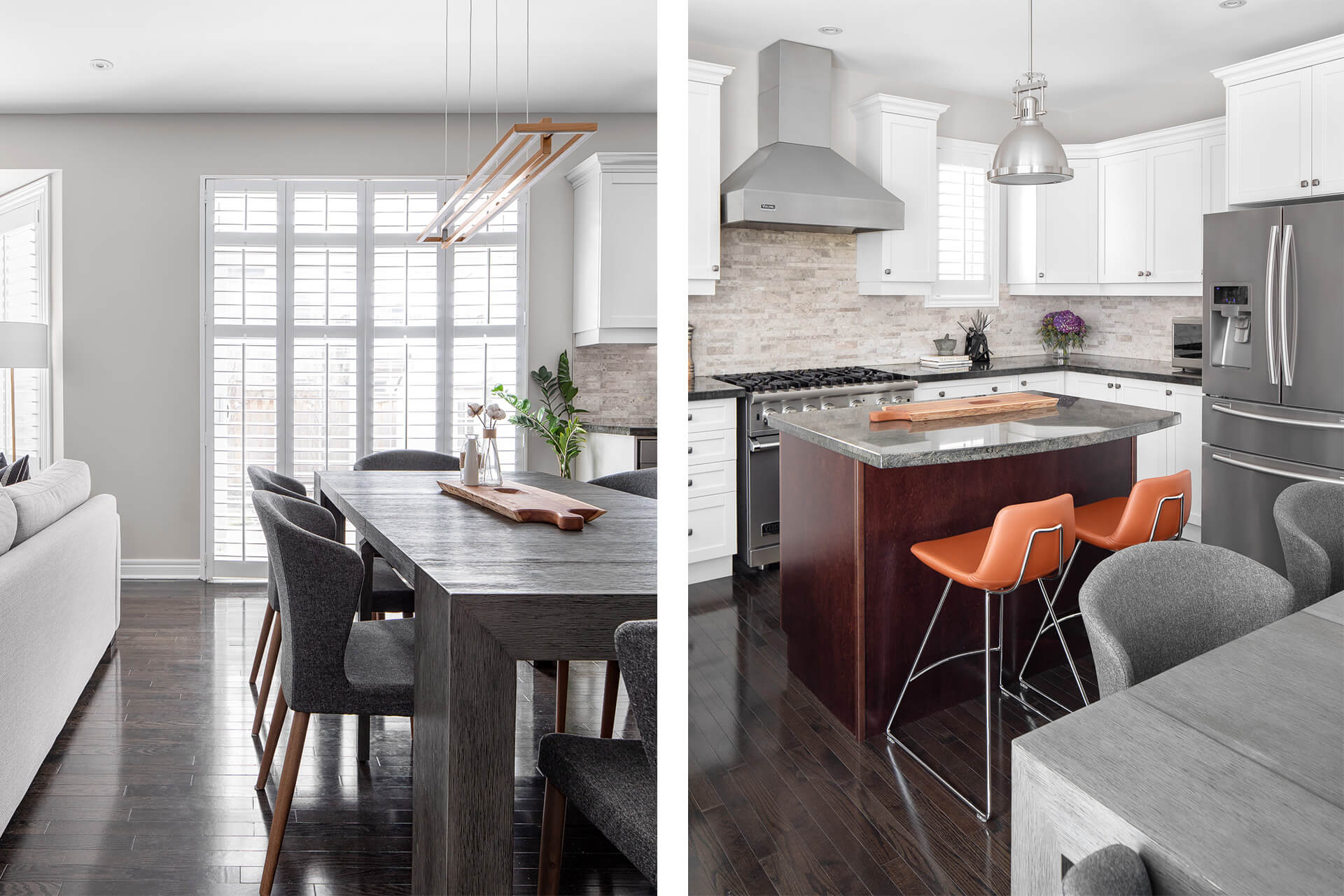Contemporary Dining Room and Transitional Kitchen